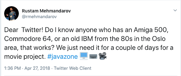 The Tweet – looking for old computers in Oslo